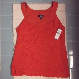 NWT AGB Red Tank Shirt with Ruffles